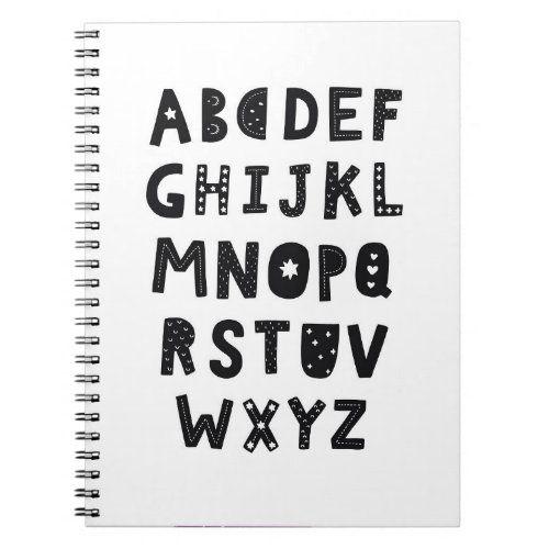 Scandinavian Alphabet Notebook Zazzle Com In 2020 Alphabet Notebook College Rule Custom Notebooks