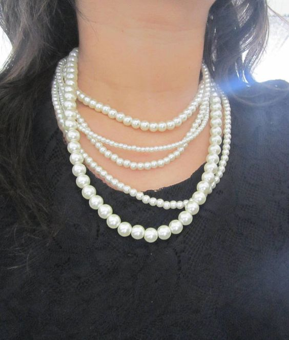 Multi Strand Pearl Necklace Layered Pearl Necklace by SLDesignsHBJ Samantha…