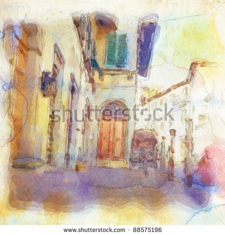 views of Florence made in artistic watercolor style. - stock photo