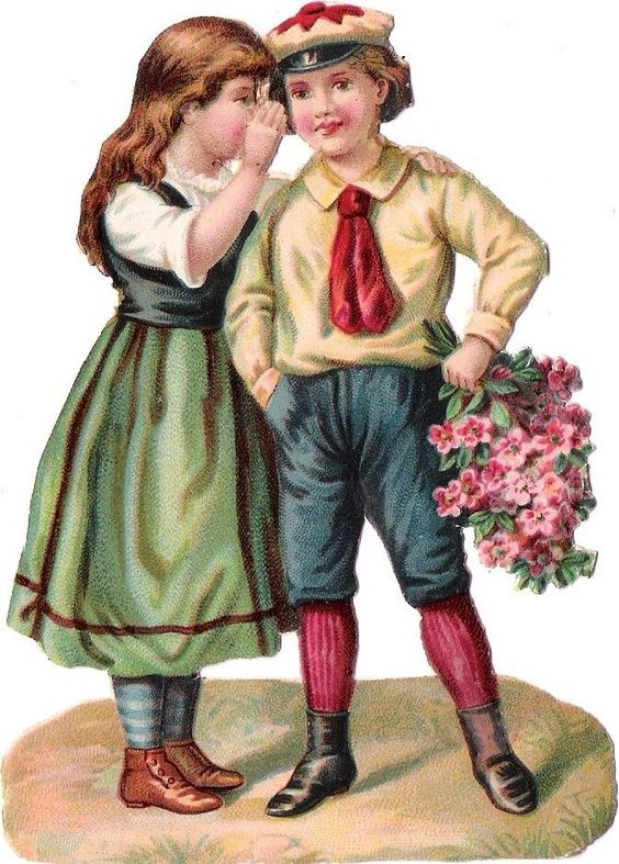 Oblaten Glanzbild scrap die cut chromo Kind  12cm child girl couple Paar: