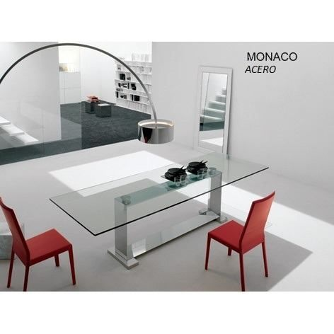 Mesa de comedor w en acero inoxidable linea steel design - Mesas comedor cristal y acero ...