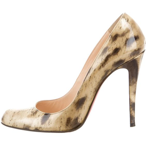 Pre-owned Christian Louboutin Patent Leather Round-Toe Pumps (£255) ❤ liked on Polyvore featuring shoes, pumps, round toe pumps, animal print pumps, black pumps, patent leather pumps and animal print shoes