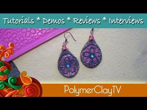 How to make distressed earrings using polymer clay and molds - YouTube