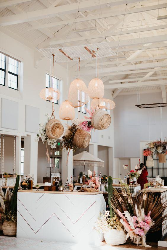 Wedding reception hanging basket wicker lamps