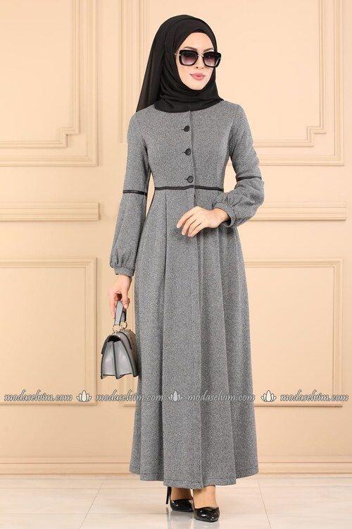 Modaselvim Kislik Ferace Deri Biyeli Kislik Ferace 5270ay342 Gri Model Pakaian Hijab Model Pakaian Pakaian