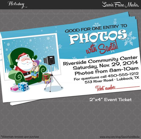 Christmas Party Ticket Template Free: Photos With Santa Event Ticket / Holiday Photos With Santa