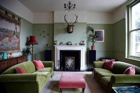 Living room orange search and living room designs on for Pink and green living room ideas