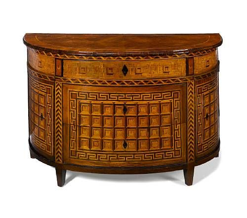a fine piedmontese 18th century walnut and fruitwood marquetry demi lune chest stolarstwo. Black Bedroom Furniture Sets. Home Design Ideas