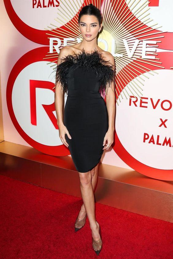 Kendall Jenner wearing  Yeezy Transparent Pumps, LPA  Aurora Dress