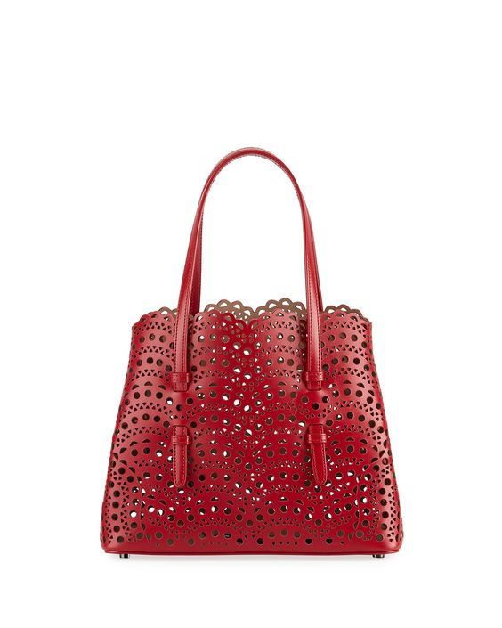 ALAÏA red laser cut handbag