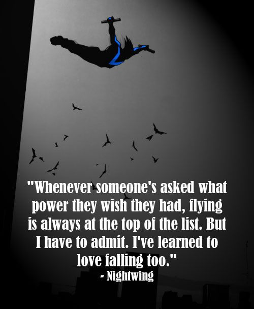 """Nightwing: """"Whenever someon's asked what power they wish they had, flying is always at the top of the list. But I have to admit, I've learned to love falling too."""""""