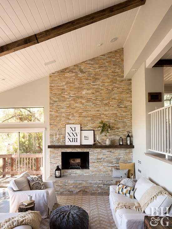 How To Make Diy Rustic Wood Beams For Instant Farmhouse Style Wood Plank Ceiling Wood Beams Building A New Home