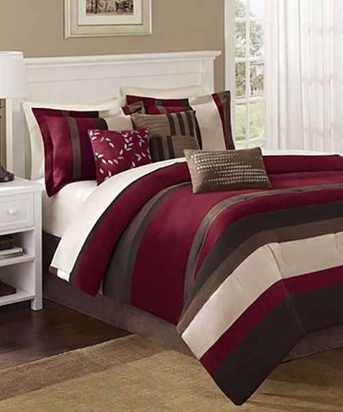Red brown stripe ann comforter set comforter master bedrooms and grand tour Master bedroom with red bedding
