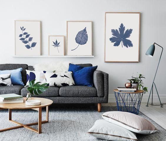 Navy Blue Wall Art Set Fall Wall Decor Printable Blue Plant Etsy Living Room Scandinavian Living Room Color Schemes Living Room Pictures