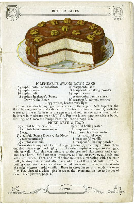 """I did a post on February 20, 2011 entitled """" Swans Down Vintage Recipe s"""" which was about an old cookbook that contained lovely illustratio..."""