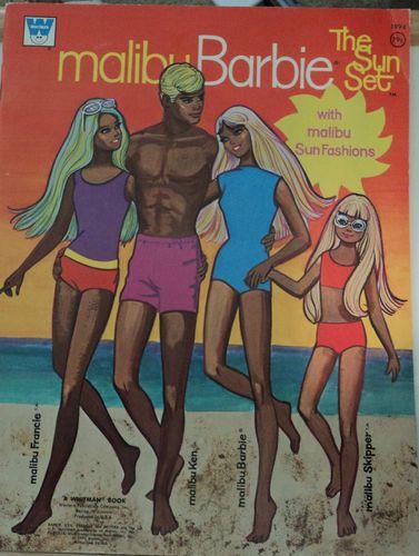 Whitman Malibu Barbie The Sun Set Vintage Paper Dolls 1972 Mattell authorized ed   eBay
