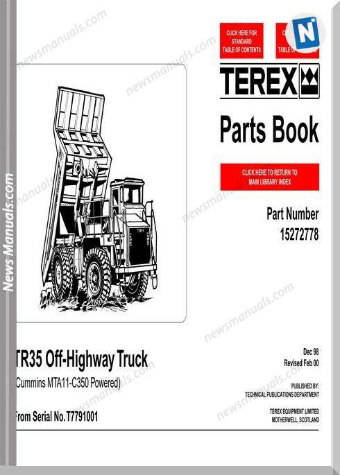 Terex Tr35 Models Off Highway Truck Parts Catalogue Parts Catalog Truck Parts Trucks