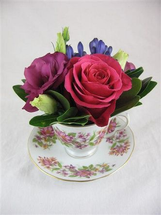 Tea Cup Posy  |  Periwinkle Flowers Toronto florist Jess McEwen  (nice for those small spaces):