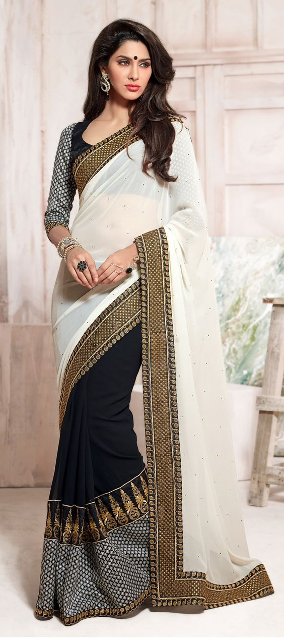 Monochrome Partywear Saree with Embroidery: