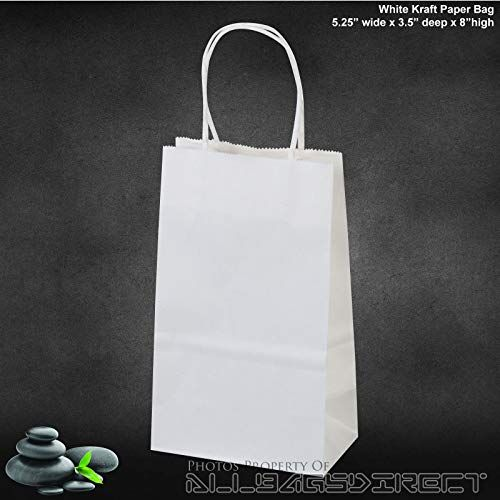 """100 Pcs 5.25/""""x3.25/""""x8 Black Kraft Paper Bags With Handle for Shopping Gift Store"""