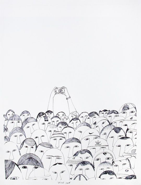 This crowd portrait is before the mobile phone era for sure! Illustration by Ningeokuluk Teevee:
