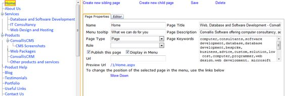Page properties for SEO for ConvallisCMS websites