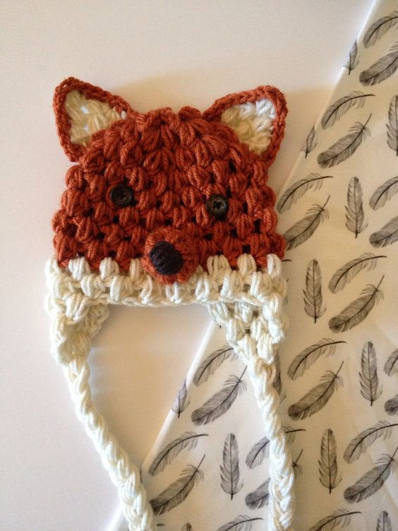 Fox Crochet Hat by Nooches on Etsy Would be so easy to duplicate, just a puff stitch   What does the fox say?