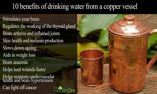 Storing Drinking-water in Copper pots Kills Contaminating Diarrhoeagenic Bacteria. http://www.ncbi.nlm.nih.gov/pmc/articles/PMC3312355/