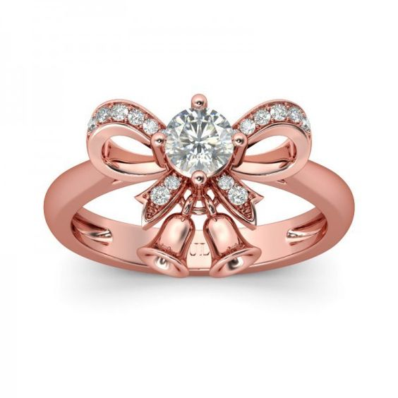 Unique Bowknot Jingle Bell Rose Gold Round Cut Created White Sapphire... ($110) ❤ liked on Polyvore featuring jewelry, rings, rhodium plated jewelry, sterling silver rings, rhodium plated sterling silver jewelry, white gold pink sapphire ring and pink gold jewelry