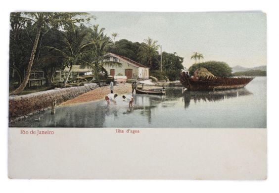 Cartão Tipográfico Colorido de Ilha dágua Baía de Guanabara, no Rio de Janeiro. Impressão feita na Alemanha.