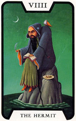 """The Hermit - Tarot of the Witches (Fergus Hall)    chaos magick theory involves the use of altered states of consciousness in order to effect magical change upon the world. While many paradigms use altered states in order to obtain results, they do so in a rather haphazard fashion usually attributing the results of the magician to """"the goddess/god, the stars, true will"""" and not giving credit (or blame) where it is due."""
