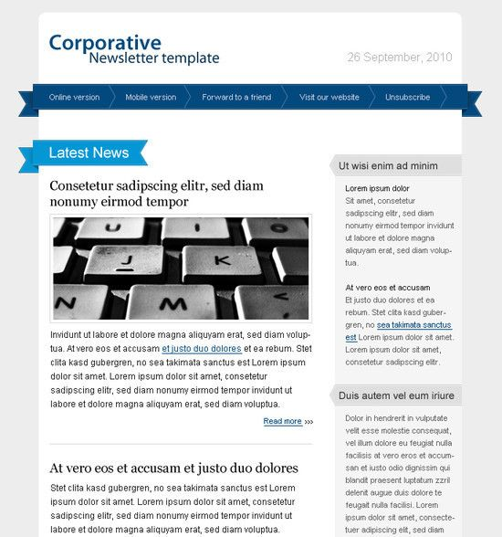 20 Free HTML Email Newsletter Templates Free and Useful Online - example news letter