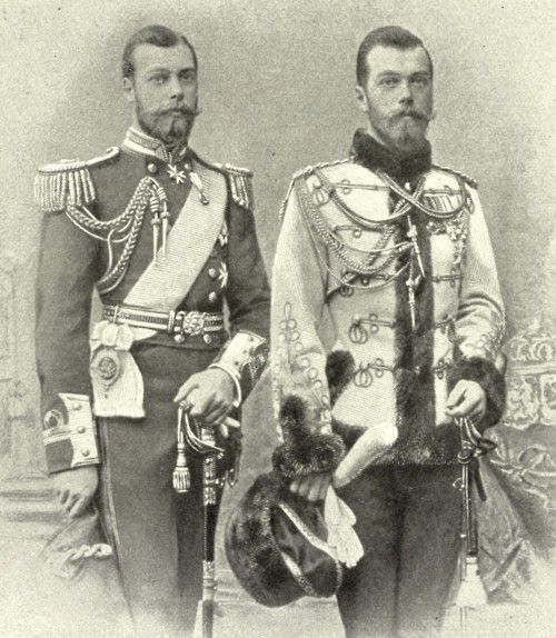 Prince George (later King George V) of England and Tsar Nicholas II of Russia, 1890. They were cousins but look like twins!: