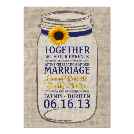 Rustic Sunflower and Mason Jar Wedding Invitation