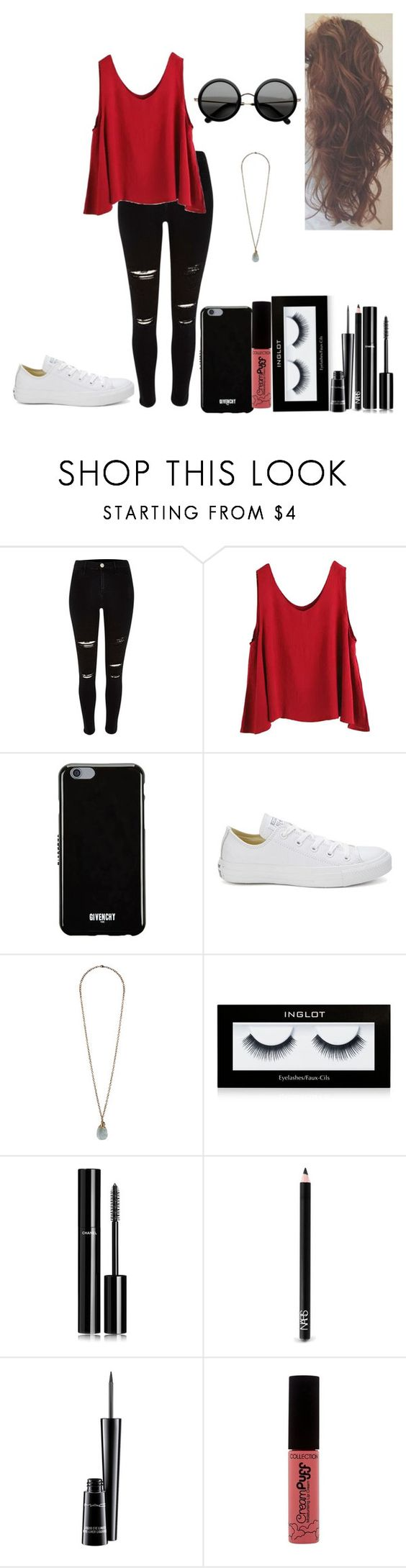 """Sem título #441"" by karen-biarmatos ❤ liked on Polyvore featuring WithChic, Givenchy, Converse, Forever 21, Inglot, Chanel, NARS Cosmetics, MAC Cosmetics and The Row"