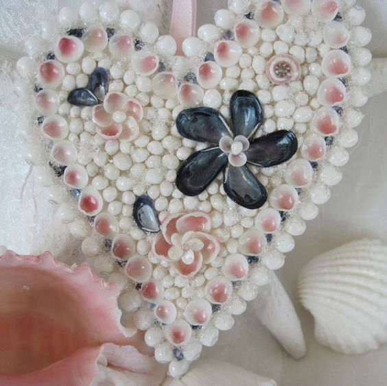 Seashell Heart Ornament Pink And Navy Blue