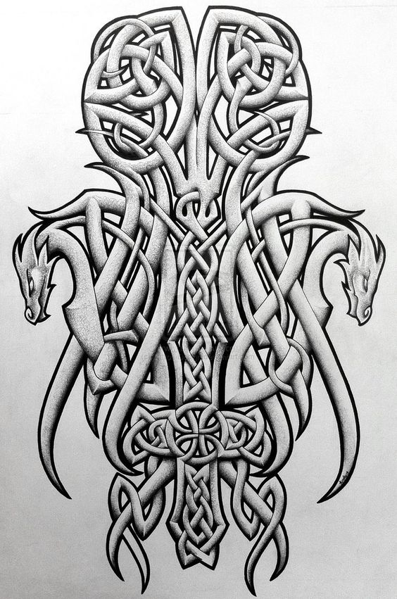 tattoos celtic norse celtic dragons and cross by tattoo design tattoos celtic norse. Black Bedroom Furniture Sets. Home Design Ideas