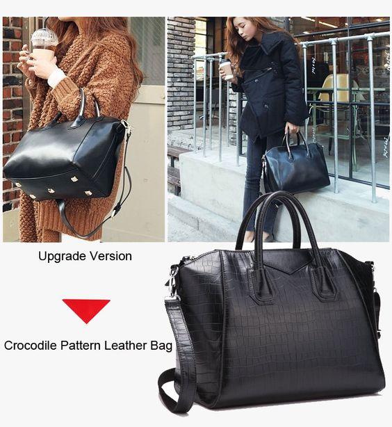 black crocodile pattern leather shoulder crossbody tote handbag for women