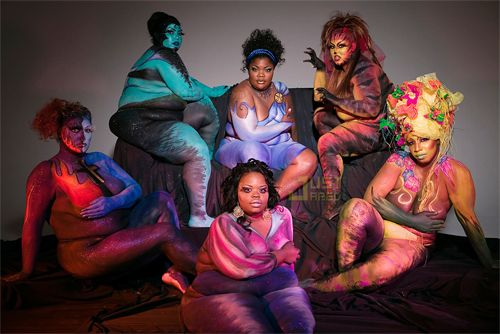 Comedian Monique with plus size models in body paint