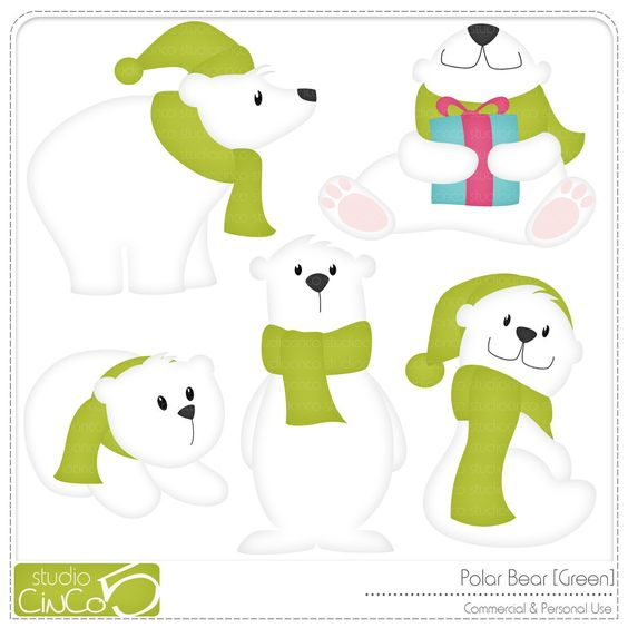 Polar Bears Clip Art Christmas Decorations