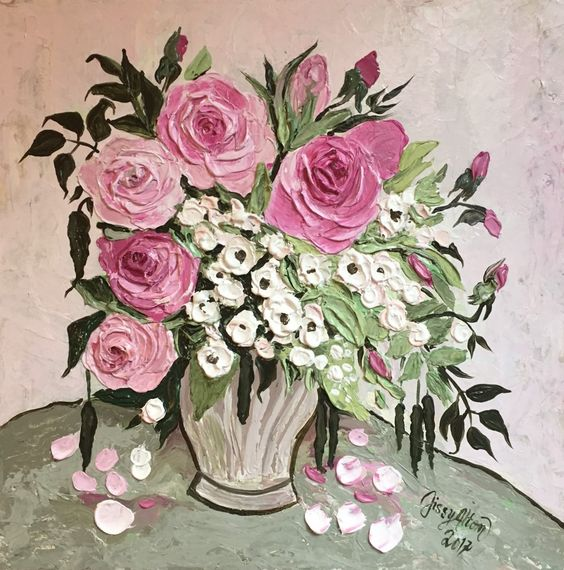 Original Impasto, impressionist style painting, a lovely bouquet - plexiglas f r k chenwand