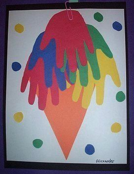Construction Paper Handprint Ice Cream Cone: Cream Social, Cream Group, Cone Childcareland, Handprint Ice, Art Activities, Icecream, Ice Cream Cones, Early Learning Activities
