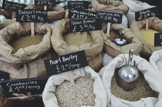Amazing grains in Broadway Market, East London. Barley, Bulgar, Italian Brown (which is what I took home) and Cous Cous! <3 from Christina+Blair