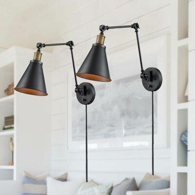 17 Stories Hahira 1 Light Plug In Swing Arm Wayfair In 2020 Swing Arm Lamp Antique Light Bulbs Wall Mounted Light
