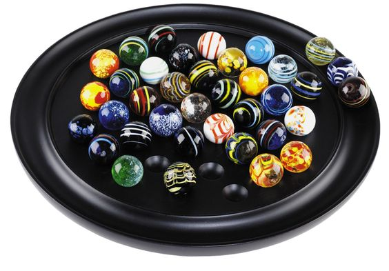 Features:  -Individually hand blown glass marbles.  -Against a solid ebony board.  -Full of color.  Game: -Roulette.  Accessory Type: -Complete Game Sets. Dimensions:  Overall Height - Top to Bottom: