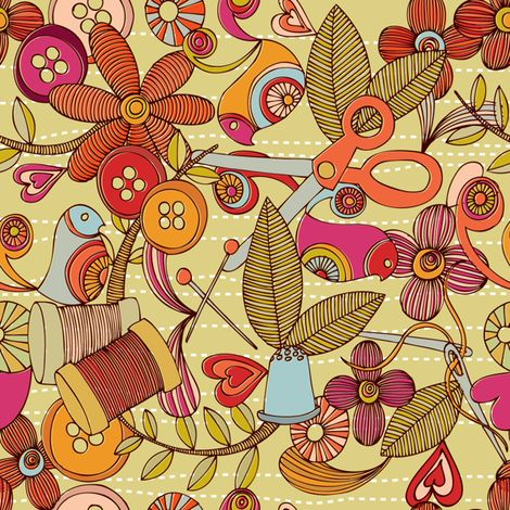 Sew and Smile fabric by valentinaramos on Spoonflower - custom fabric