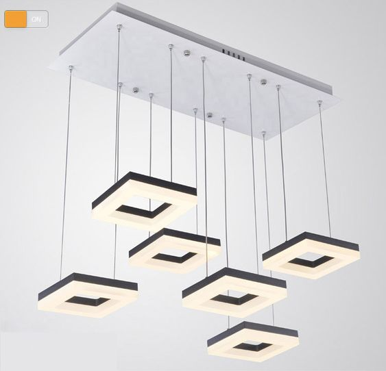 54 w salle manger pendentif carr de lumi re design for Eclairage suspension design