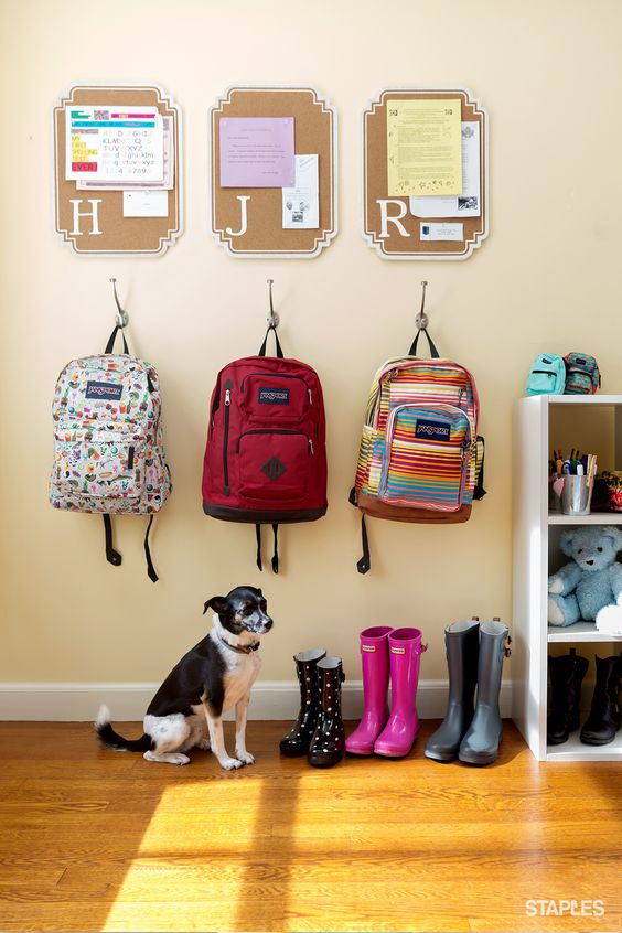 You can beat the morning rush before school. Personalized pin boards are a fun way to keep homework, practice schedules, permission slips and other paperwork organized. And a hook keeps their backpacks handy at all times.: