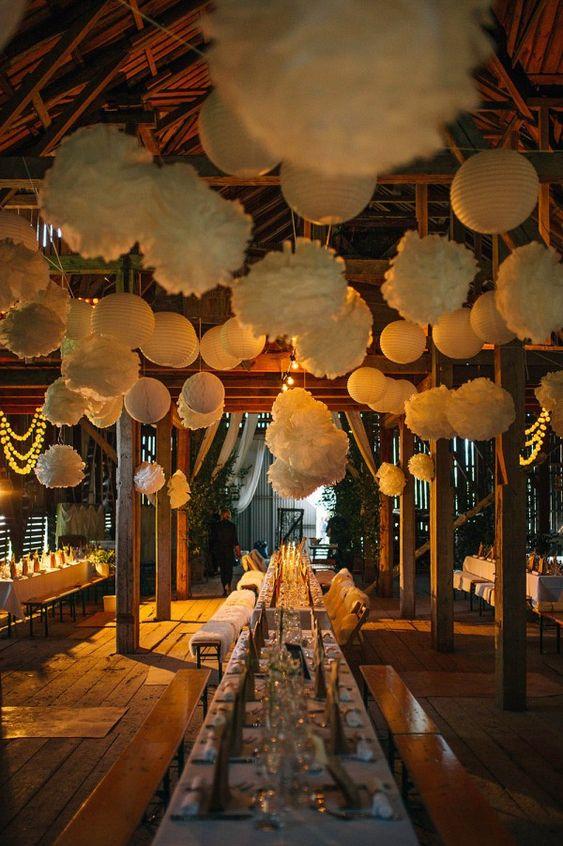 Cozy barn reception decor | Photo by Nordica Photography via http://junebugweddings.com/wedding-blog/what-junebug-loves/stylish-natural-swedish-wedding/