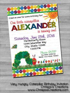 The Very Hungry Caterpillar Birthday Invitation #VHC #VeryHungryCaterpillar #Caterpillar #first #birthday #invitation #invite #personalized #custom #ChrispixsCreations #etsy